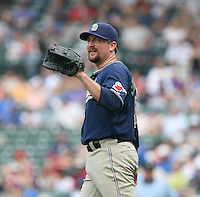 Scott Linebrink of the San Diego Padres vs. the Chicago Cubs: June 18th, 2007 at Wrigley Field in Chicago, IL.  Photo By Mike Janes/Four Seam Images