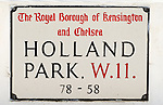"""Holland Park London W11. UK This road or street is just called """"Holland Park"""" some of the richest people in Britain have homes here."""
