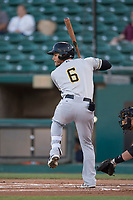 Salt Lake Bees center fielder Michael Hermosillo (6) at bat during a Pacific Coast League game against the Fresno Grizzlies at Chukchansi Park on May 14, 2018 in Fresno, California. Fresno defeated Salt Lake 4-3. (Zachary Lucy/Four Seam Images)