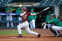 Matt Henderson (24) of the Florida State Seminoles follows through on his swing against the Notre Dame Fighting Irish in Game Four of the 2017 ACC Baseball Championship at Louisville Slugger Field on May 24, 2017 in Louisville, Kentucky. The Seminoles walked-off the Fighting Irish 5-3 in 12 innings. (Brian Westerholt/Four Seam Images)