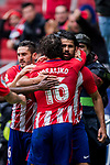 Diego Costa of Atletico de Madrid celebrates with teammate Sime Vrsaljko during the La Liga 2017-18 match between Atletico de Madrid and Getafe CF at Wanda Metropolitano on January 06 2018 in Madrid, Spain. Photo by Diego Gonzalez / Power Sport Images