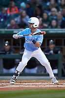 Brandon Riley (1) of the North Carolina Tar Heels squares to bunt against the Charlotte 49ers at BB&T BallPark on March 27, 2018 in Charlotte, North Carolina. The Tar Heels defeated the 49ers 14-2. (Brian Westerholt/Four Seam Images)