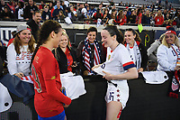 JACKSONVILLE, FL - NOVEMBER 10: Rose Lavelle #16 of the United States and Valery Sandoval #19 of Costa Rica share pleasantries wit the fans during a game between Costa Rica and USWNT at TIAA Bank Field on November 10, 2019 in Jacksonville, Florida.