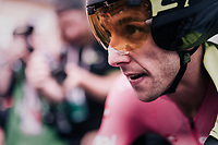 Simon Yates (GBR/Mitchelton-Scott) crossing the finish after the iTT and having comfortably retained his leaders jersey<br /> <br /> stage 16: Trento – Rovereto iTT (34.2 km)<br /> 101th Giro d'Italia 2018