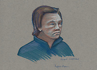 FILE IMAGE - Benoit Roberge at his trial, February 19, 2014 at Montreal justice Hall.<br /> <br /> Former Montreal police investigator Benoit Roberge, who sold information to the Hells Angels, was later sentenced to eight years in prison.<br /> <br /> Drawing : Agence Quebec Presse - Atalante