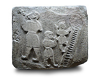Picture & image of a Neo-Hittite orthostat showing a Conjurer & acrobats from Alacahöyük, Alaca Çorum Province, Turkey. Ancora Archaeological Museum.  The conjurer on the left has long hair and is swallowing a dagger whilst the acrobats go up the stairs without holding on. All the figures are wearing horned headress and large looped earings. The acrobats are thought to be foreigners which is why they are smaller than the conjurer. Old Bronze age Chalcolithic Period. 5