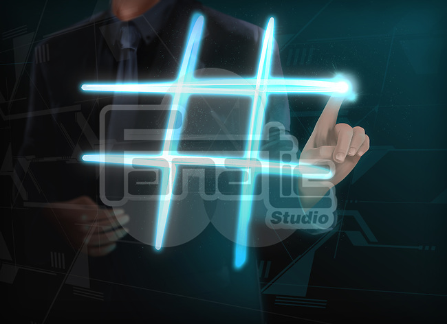 Illustration of businessman making glowing hashtag on transparent screen