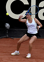 BOGOTÁ-COLOMBIA, 12-04-2019: Lara Arruabarena de España, devuelve la bola a Tamara Zidansek de Eslovenia, durante partido por el Claro Colsanitas WTA, que se realiza en el Carmel Club en la ciudad de Bogotá. / Lara Arruabarrena of Spain, returns the ball against Tamara Zidansek of Slovenia, during a match for the WTA Claro Colsanitas, which takes place at Carmel Club in Bogota city. / Photo: VizzorImage / Luis Ramírez / Staff.