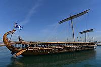 Pictured: A replica of an ancient trireme. Saturday 18 May 2019<br /> Re: Prince Edward, Duke of Kent visits cruiser Georgios Averof at Palaio Faliro, Athens, Greece