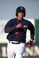 Luis Reynoso (35) of the Lancaster JetHawks runs the bases during a game against the Visalia Rawhide at The Hanger on May 7, 2016 in Lancaster, California. Lancaster defeated Visalia, 19-5. (Larry Goren/Four Seam Images)