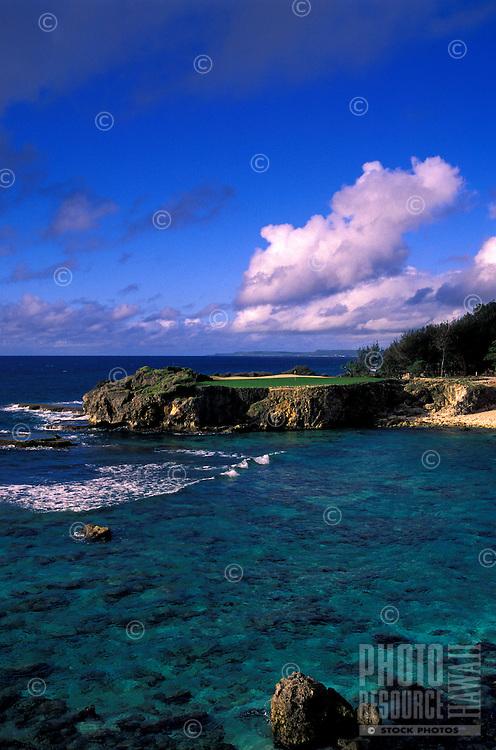 Hole number 12 found on a peninsula at the Mangilao golf club, Guam