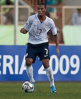 Stefan Jerome dribbles the ball. US Under-17 Men's National Team defeated United Arab Emirates 1-0 at Gateway International  Stadium in Ijebu-Ode, Nigeria on November 1, 2009.