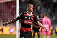 19th March 2021; Bankwest Stadium, Parramatta, New South Wales, Australia; A League Football, Western Sydney Wanderers versus Perth Glory; Mitch Duke of Western Sydney Wanderers celebrates as he scores in the 47th minute to make it 1-0