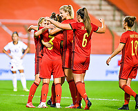 Jassina Blom (3) of Belgium pictured celebrating with teammates after scoring a goal during a female soccer game between the national teams of Belgium , called the Red Flames and Albania in the second game in the qualification for the  FIFA Women's World Cup in group F , on tuesday 21 st of September 2021  in Brussels , Belgium . PHOTO SPORTPIX