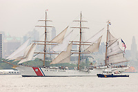 US Coast Guard Barque Eagle participates in the Parade of Sail on the Hudson River in New York City, USA on Wednesday, May 23, 2012.  The Parade of Sail kicked off Fleet Week New York City, an annual event celebrating sea services.