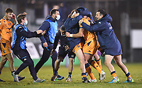 1st May 2021; Recreation Ground, Bath, Somerset, England; European Challenge Cup Rugby, Bath versus Montpellier; Handre Pollard of Montpellier is mobbed by his team after kicking the winning points for Montpellier to win 10-19