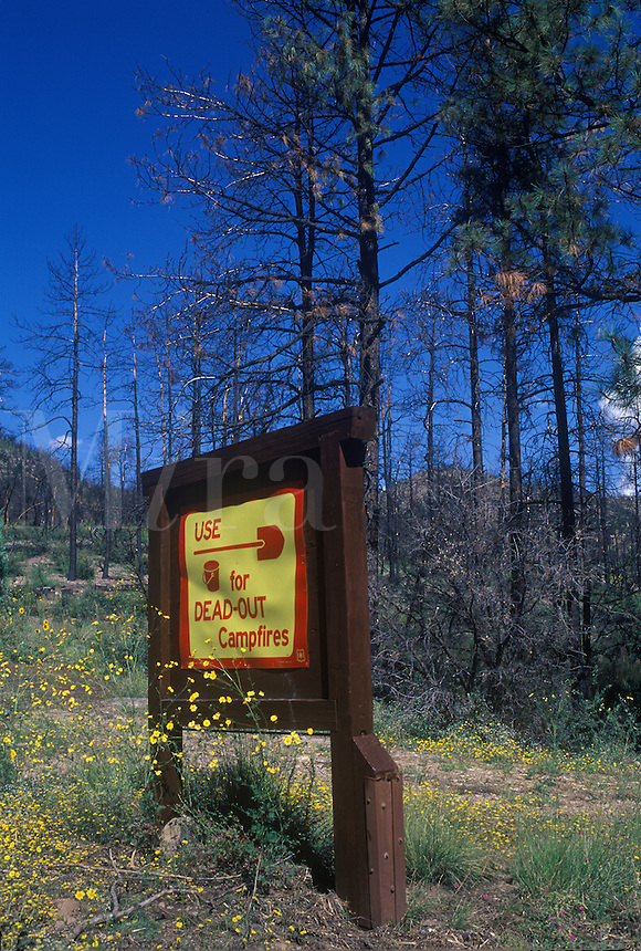 Forest fire warning for campers.