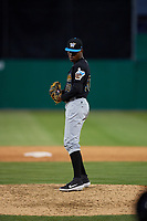 West Virginia Black Bears pitcher Xavier Concepcion (30) during a NY-Penn League game against the Batavia Muckdogs on June 25, 2019 at Dwyer Stadium in Batavia, New York.  Batavia defeated West Virginia 7-3.  (Mike Janes/Four Seam Images)