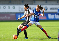 20190810 - DENDERLEEUW, BELGIUM : PAOK's Natalia Chatzigiannidou (left) pictured in a fight for the ball with Linfield's Caitlin McGuinness (r) during the female soccer game between the Greek PAOK Thessaloniki Ladies FC and the Northern Irish Linfield ladies FC , the second game for both teams in the Uefa Womens Champions League Qualifying round in group 8 , Wednesday 7 th August 2019 at the Van Roy Stadium in Denderleeuw  , Belgium  .  PHOTO SPORTPIX.BE | DAVID CATRY