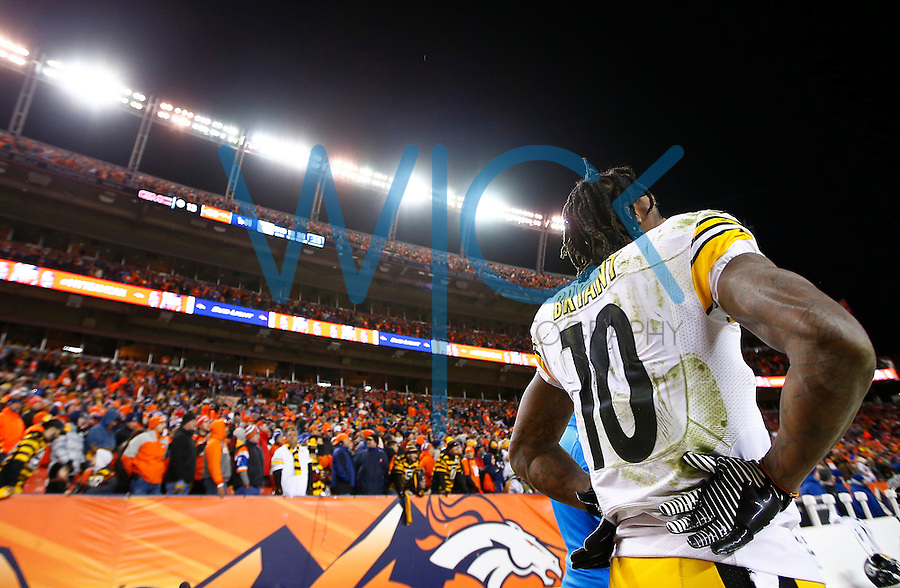Martavis Bryant #10 of the Pittsburgh Steelers stands on the sideline in the final minute of their 16-23 loss to the Denver Broncos during the AFC Divisional Round Playoff game at Sports Authority Field at Mile High on January 17, 2016 in Denver, Colorado. (Photo by Jared Wickerham/DKPittsburghSports)