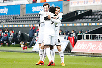Sunday 18 March 2018<br /> Pictured:  Botti Biabi of Swansea City celebrates scoring his sides first goal of the match with Adnan Maric and Matic Paljk<br /> Re: Swansea City v Manchester United U23s in the Premier League 2 at The Liberty Stadium on March 18, 2018 in Swansea, Wales.