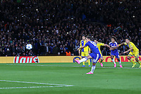 Eden Hazard of Chelsea misses a penalty during the UEFA Champions League match between Chelsea and Maccabi Tel Aviv at Stamford Bridge, London, England on 16 September 2015. Photo by David Horn.