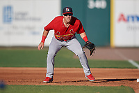 Palm Beach Cardinals first baseman Zach Kirtley (18) during a Florida State League game against the Lakeland Flying Tigers on May 22, 2019 at Publix Field at Joker Marchant Stadium in Lakeland, Florida.  Palm Beach defeated Lakeland 8-1.  (Mike Janes/Four Seam Images)