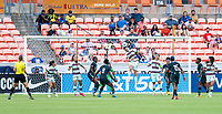 HOUSTON, TX - JUNE 13: Telma Encarnacao #23 of Portugal heads the ball during a game between Nigeria and Portugal at BBVA Stadium on June 13, 2021 in Houston, Texas.