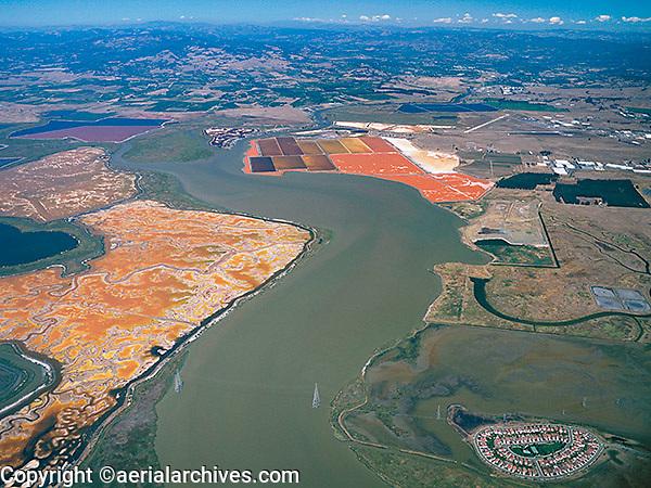 aerial photograph salt ponds, Napa River, Napa County, California
