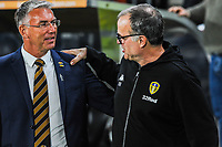 Hull City's manager Nigel Adkins with Leeds United's manager Marcelo Bielsa during the Sky Bet Championship match between Hull City and Leeds United at the KC Stadium, Kingston upon Hull, England on 2 October 2018. Photo by Stephen Buckley/PRiME Media Images.