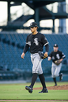 AZL White Sox starting pitcher Bryan Saucedo (45) walks off the field between innings of the game against the AZL Cubs on August 13, 2017 at Sloan Park in Mesa, Arizona. AZL White Sox defeated the AZL Cubs 7-4. (Zachary Lucy/Four Seam Images)