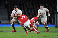 Ben Youngs of England is tackled by Rhys Webb of Wales during the Guinness Six Nations match between England and Wales at Twickenham Stadium on Saturday 7th March 2020 (Photo by Rob Munro/Stewart Communications)