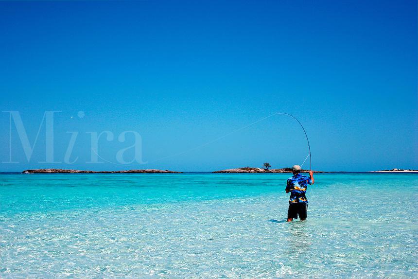 Fly fishing on an unnamed island off Highbourne Cay, Exuma Islands, Bahamas