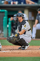 Josh Thole (21) of the Salt Lake Bees on defense against the Oklahoma City Dodgers at Smith's Ballpark on July 31, 2019 in Salt Lake City, Utah. The Dodgers defeated the Bees 5-3. (Stephen Smith/Four Seam Images)