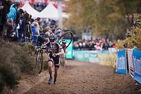 Lars Van der Haar (NLD/Giant-Alpecin) running in 2nd position well behind race leader Wout Van Aert (BEL/Vastgoedservice-Golden Palace)<br /> <br /> Men Elite Race<br /> Superprestige Zonhoven 2015