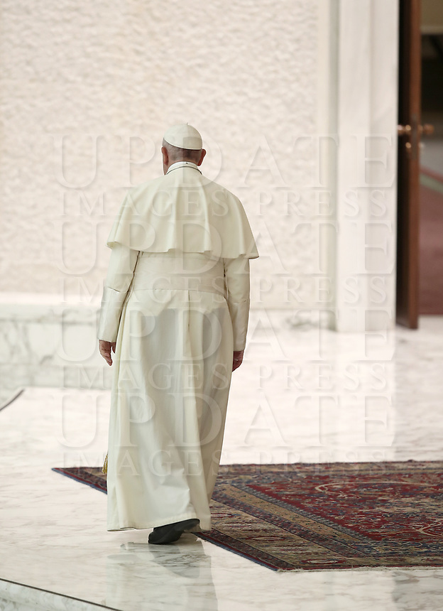 Pope Francis leaves at the end of an audience to participants in the National Congress of the Italian Masters of Labor Federation, in Paolo VI Hall at the Vatican, on June 15, 2018. <br /> UPDATE IMAGES PRESS/Isabella Bonotto<br /> <br /> STRICTLY ONLY FOR EDITORIAL USE