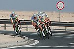 Project IT4i team warms up before the 2nd Stage of the 2012 Tour of Qatar a team time trial at Lusail Circuit, Doha, Qatar, 6th February 2012 (Photo Eoin Clarke/Newsfile)