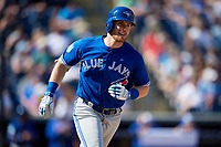 Toronto Blue Jays first baseman Billy McKinney (28) runs to first base during a Grapefruit League Spring Training game against the New York Yankees on February 25, 2019 at George M. Steinbrenner Field in Tampa, Florida.  Yankees defeated the Blue Jays 3-0.  (Mike Janes/Four Seam Images)