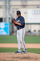 Atlanta Braves relief pitcher Huascar Ynoa (73) gets ready to deliver a pitch during a Grapefruit League Spring Training game against the Detroit Tigers on March 2, 2019 at Publix Field at Joker Marchant Stadium in Lakeland, Florida.  Tigers defeated the Braves 7-4.  (Mike Janes/Four Seam Images)