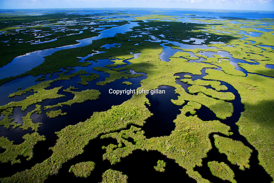 Aerial view of the Florida's south west coast showing water, mangroves.and Everglades. File # WX3P6584