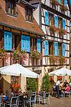 France, Alsace, Haut-Rhin, Éguisheim, restaurant and cafe at old town   Frankreich, Elsass, Haut-Rhin, Éguisheim: Restaurant und Cafe in der Altstadt