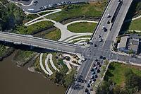 aerial photograph China Point Park at the First Street Bridge, Napa, California