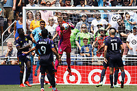 ST PAUL, MN - JULY 18: Stefan Cleveland #30 of the Seattle Sounders FC with a save during a game between Seattle Sounders FC and Minnesota United FC at Allianz Field on July 18, 2021 in St Paul, Minnesota.