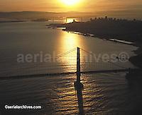 aerial photograph Golden Gate bridge at Sunset Bay Bridge and San Francisco background