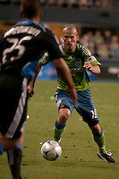 Freddie Ljungberg (10) drives against Quincy Amarikwa (25) in the Seattle Sounders 2-1 win against San Jose Earthquake on Saturday, June 13, 2009 at Quest Field in Seattle, WA.