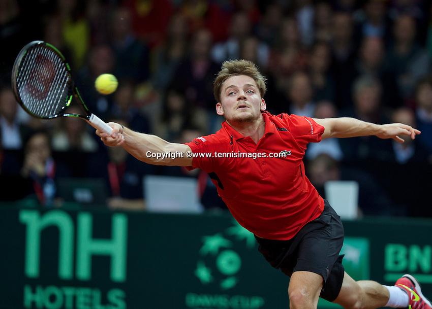 Gent, Belgium, November 27, 2015, Davis Cup Final, Belgium-Great Britain, first match, Davis Goffin (BEL) goes all the way<br /> © Henk Koster/Alamy Live News