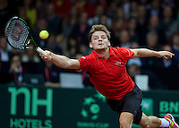 Gent, Belgium, November 27, 2015, Davis Cup Final, Belgium-Great Britain, first match, Davis Goffin (BEL) goes all the way<br /> © Henk Koster/Alamy Live News