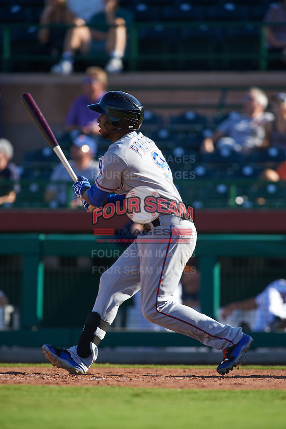 Surprise Saguaros designated hitter Jurickson Profar (9) at bat during an Arizona Fall League game against the Scottsdale Scorpions on October 22, 2015 at Scottsdale Stadium in Scottsdale, Arizona.  Surprise defeated Scottsdale 7-6.  (Mike Janes/Four Seam Images)