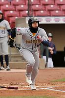 Burlington Bees catcher Alexis Olmeda (25) swings at a pitch against the Cedar Rapids Kernels at Veterans Memorial Stadium on April 14, 2019 in Cedar Rapids, Iowa.  The Bees won 6-2.  (Dennis Hubbard/Four Seam Images)
