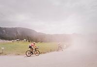 Thomas De Gendt (BEL/Lotto Soudal) over the gravel roads up the Montée du plateau des Glières (HC/1390m)<br /> <br /> Stage 10: Annecy > Le Grand-Bornand (159km)<br /> <br /> 105th Tour de France 2018<br /> ©kramon